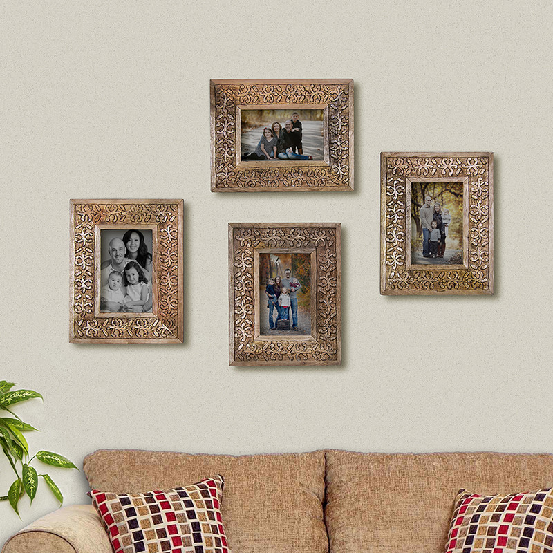 Multi Picture Classic Snowflake Wood Carved Collage Photo Frame ...