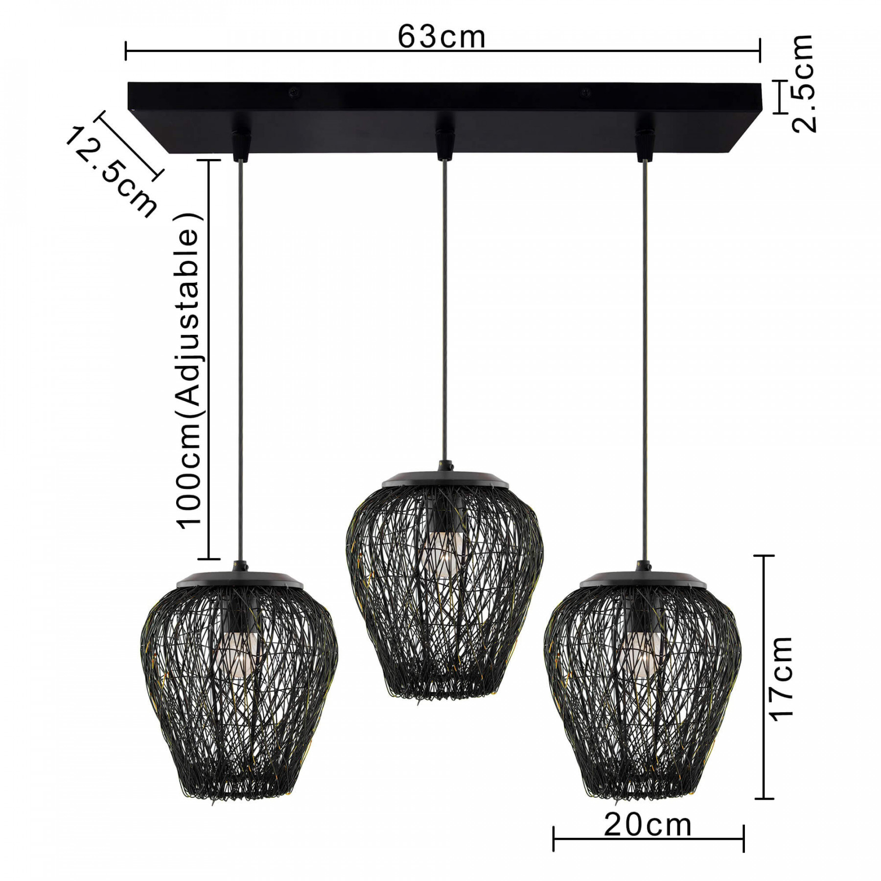 3-Lights Linear Cluster Chandelier Black Steel Wire Mesh