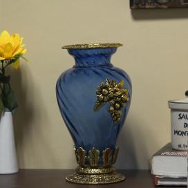 Golden Flower Pot Large with Antique Grapevine Brooch Indigo