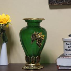 Golden Flower Pot Large with Antique Grapevine Brooch Green