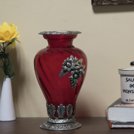 Flower Pot Large with Antique Grapevine Brooch Red