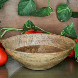 Natural Wood Bowl Flat Small