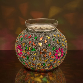 Persian Mosaic Flower and Seed Beads Pot Lamp, Desk Bedside Lamp Multicolor Light