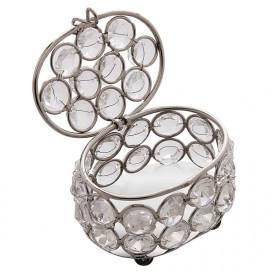 Oval Crystal Silver Jewellery Box