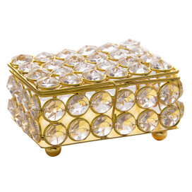 Rectangle Small Crystal Jewellery Box Gold