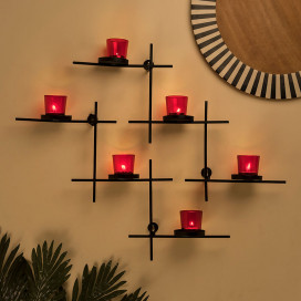 Black Scorching Ladder with Six Votive, Wall Hanging Candle Tealight Holder, Set of 2