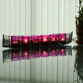 Wire Cruise Six Votive Stand (Set of 6 Votive) Pink