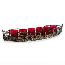 Wire Cruise Six Votive Stand (Set of 6 Votive) Red