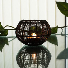Wire Tangle Small Votive Black, Metal Candle Holder Stand with Free Candle