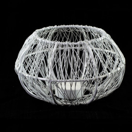 Wire Tangle Large Votive White, Metal Candle Holder Stand with Free Candle