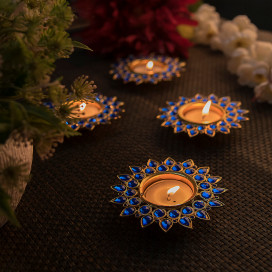 Blue Crystal Diya with T-Light- Set of Four Silver Plates, Candle Holder Stand with Free Candle