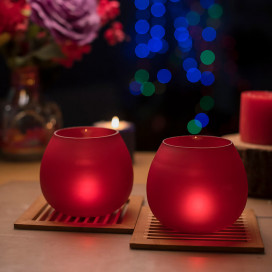 Red Frost Pot Votive (Set of two pieces)- Large