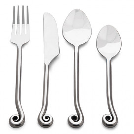 Premium Stainless Steel - Elegant Flatware 16 Pieces Antique Swirl Cutlery Set