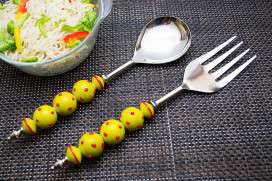 Noodle,Pasta Server and Serving Spoon Set of 2, Stainless Steel with Yellow Glass Beads- Red Dots