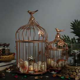 Copper Bird Cage with Floral Vine (Set of 2), with Hanging Chain, Rose Gold