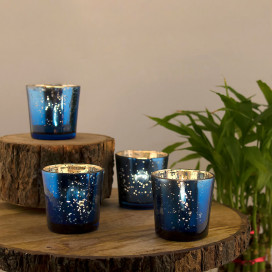 Azure Blue Mercury Silver T-light Holder, Glass Candle Holder Stand with Free Candles