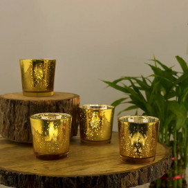 Golden Mercury Silver T-light Holder, Glass Candle Holder Stand with Free Candles