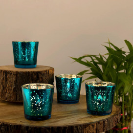 Turquoise Mercury Silver T-light Holder, Glass Candle Holder Stand with Free Candle