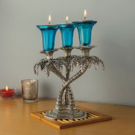 Triple Palm Candle Stand with Hand Carving