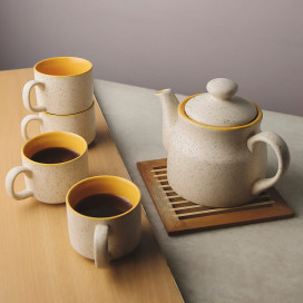 Ceramic Tea Pot and cups set, with matt marble finish