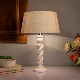 Classic Twister Table Lamp White With Khadi Shade
