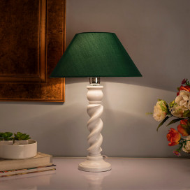 Classic Twister Table Lamp White With Green Shade