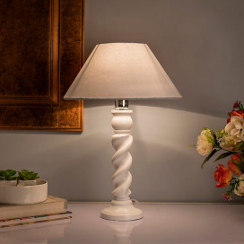 Classic Twister Table Lamp White With White Cone Shade