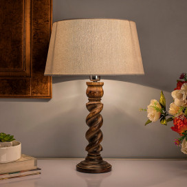Classic Black Twister Table Lamp With Khadi Shade
