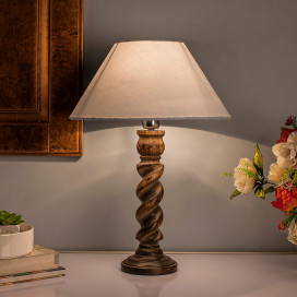 Classic Black Twister Table Lamp With White Shade
