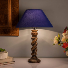 Classic Black Twister Table Lamp With Blue Shade