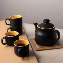 Ceramic Matt Black Tea Pot with cups (set of 4 cups)