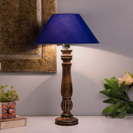 Classic Victorian Black Wood Table Lamp With Blue Shade