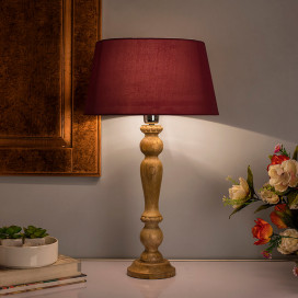 Eureka Polka Natural Wood Table Lamp With Red Shade