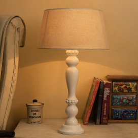 Eureka Polka White Wood Table Lamp With Khadi Shade