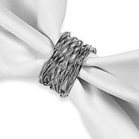 Twisted wire napkin ring in Silver finish, set of 6