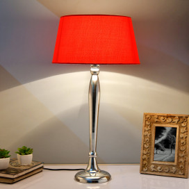 Royal Ovoid Chrome Lamp With Red Shade