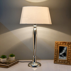 Royal Ovoid Chrome Lamp With White Drum Shade