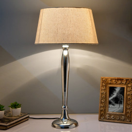 Royal Ovoid Chrome Lamp With Khadi Shade