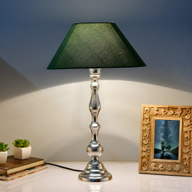 Teardrop Chrome Lamp With Green Shade