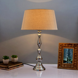 Teardrop Chrome Lamp With Khadi Shade