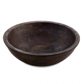 Wooden Bowl Flat Small, Walnut Finish, Fruit & Snack Serving Bowl