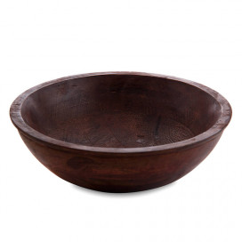 Wooden Bowl Flat Small, Mahogany Finish, Fruit & Snack Serving Bowl