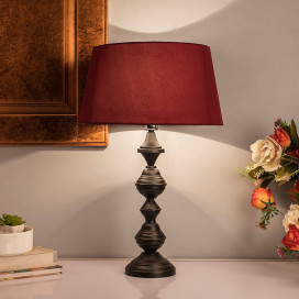 Nordic Waterdrop Matt Black Table Lamp With Red Shade
