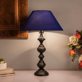 Nordic Waterdrop Matt Black Table Lamp With Blue Shade