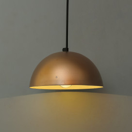 "Metallic Copper Pendant Hanging Light, Hanging Lamp 8"", Rose Gold"