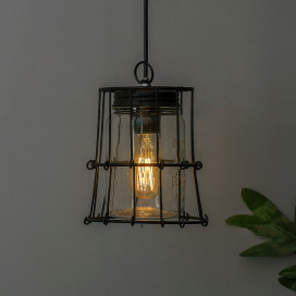 Black Steel Industrial Pendant with Mason Jar