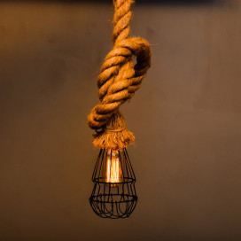 Rustic Hanging Rope Filament Lamp with Cage, Retro Pendant Light, with Filament Bulb T45