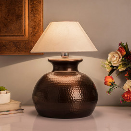Antique Copper Hammered Pitcher Table Lamp with White Shade