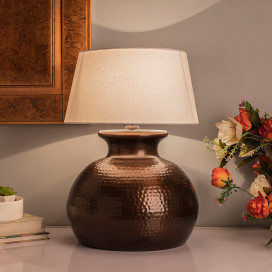 Antique Copper Hammered Pitcher Table Lamp with White Drum Shade