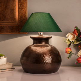 Antique Copper Hammered Pitcher Table Lamp with Green Shade